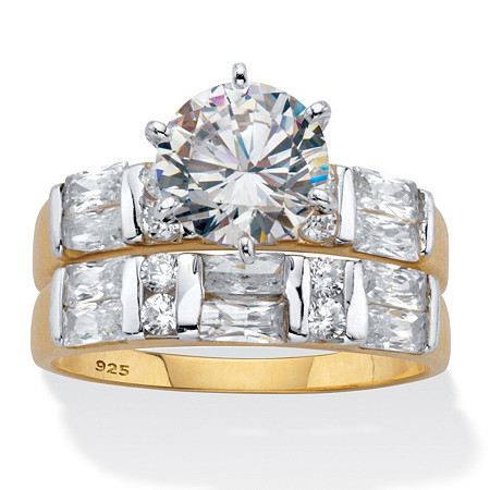 Round and Emerald-Cut CZ 2 Piece Bridal Ring Set 3.46 TCW Two-Tone Gold-Plated Sterling Silver at PalmBeach Jewelry