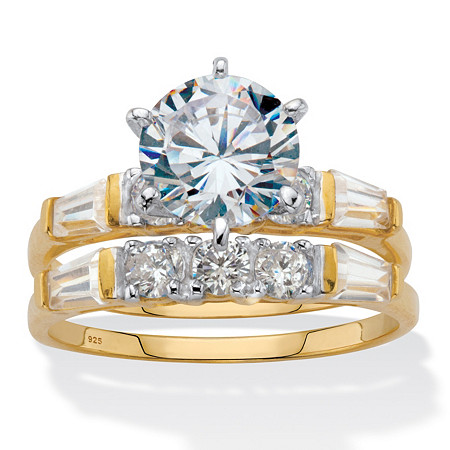 Round and Baguette Cubic Zirconia  2 Piece Bridal Ring Set 3.50 TCW Two-Tone Gold-Plated Sterling Silver at PalmBeach Jewelry