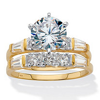 Round and Baguette Cubic Zirconia 2 Piece Bridal Ring Set 3.50 TCW Two-Tone Gold-Plated Sterling Silver