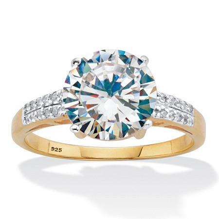 Round-Cut Cubic Zirconia Engagement Ring 4.10 TCW Two Tone 18k Gold Over Sterling Silver at PalmBeach Jewelry