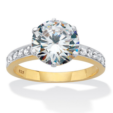 Round Cut Cubic Zirconia Engagement Ring 4.18 TCW 18k Two-Tone Gold Over Sterling Silver at PalmBeach Jewelry