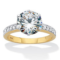 Round Cut Cubic Zirconia Engagement Ring 4.18 TCW 18k Two-Tone Gold Over Sterling Silver