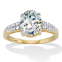 Oval Cut Cubic Zirconia Engagement Ring 2.64 TCW Two Tone Gold-Plated Sterling Silver