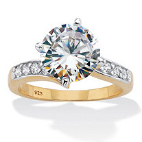 Round CZ Curved Shank Engagement Ring 4.26 TCW Two-Tone Gold-Plated Sterling Silver