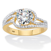 Round Cubic Zirconia Bypass Engagement Ring 2.40 TCW,18k Gold over Sterling Silver