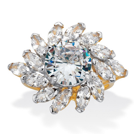 Round and Marquise-Cut CZ Cocktail Ring 7.50 TCW Two Tone 18k Gold Over Sterling Silver at PalmBeach Jewelry