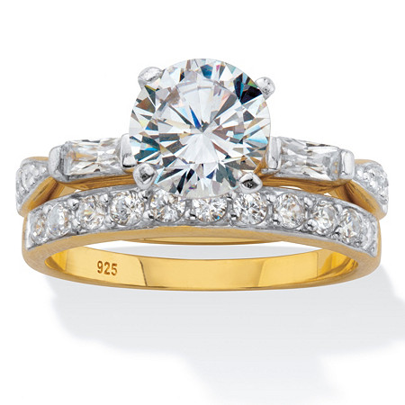 Round and Baguette Cut CZ 2 Piece Bridal Ring Set 2.66 TCW Two-ToneGold-Plated Sterling Silver at PalmBeach Jewelry