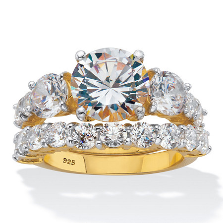 Round CZ 2 Piece Bridal Ring Set 7.94 TCW Two-Tone 18k Gold over Sterling Silver at PalmBeach Jewelry