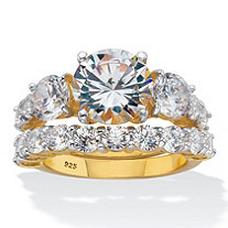 Round CZ 2 Piece Bridal Ring Set 7.94 TCW Two-Tone 18k Gold over Sterling Silver