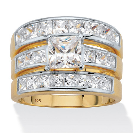 Princess-Cut Cubic Zirconia 3-Piece Channel Set Bridal Ring Set 3.74 TCW, 18k Gold over Sterling Silver at PalmBeach Jewelry