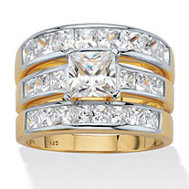 Princess-Cut Cubic Zirconia 3-Piece Channel Set Bridal Ring Set 3.74 TCW, 18k Gold over Sterling Silver