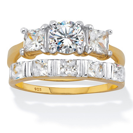 Round and Princess Cut CZ 2 Piece Bridal Ring Set 2.52 TCW Two Tone Gold-Plated Sterling Silver at PalmBeach Jewelry