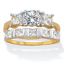 Round and Princess Cut CZ 2 Piece Bridal Ring Set 2.52 TCW Two Tone Gold-Plated Sterling Silver