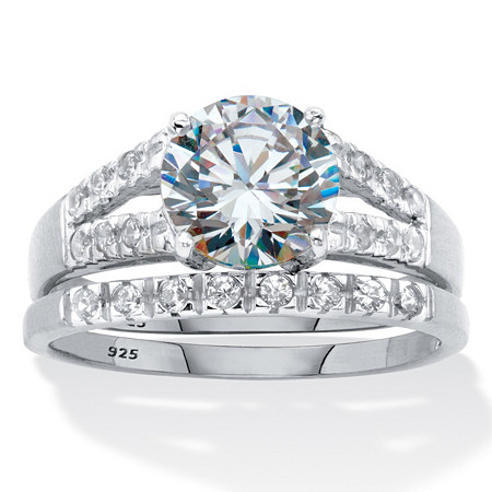 Round Cubic Zirconia Spit-Shank 2 Piece Bridal Ring Set 2.30 TCW Platinum Over Sterling Silver at PalmBeach Jewelry