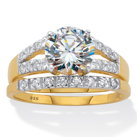 Round CZ Spit Shank 2 Piece Bridal Ring Set 2.30 TCW Two Tone 18k Gold Over Sterling Silver at PalmBeach Jewelry