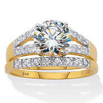 Round CZ Spit Shank 2 Piece Bridal Ring Set 2.30 TCW Two Tone 18k Gold Over Sterling Silver