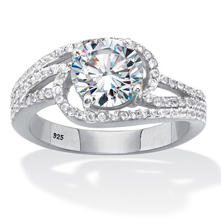 Round Cubic Zirconia Bypass Swirl Engagement Ring 2.40 TCW Platinum Over Sterling Silver at PalmBeach Jewelry