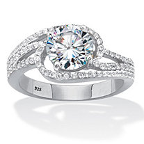 Round Cubic Zirconia Bypass Swirl Engagement Ring 2.40 TCW Platinum Over Sterling Silver