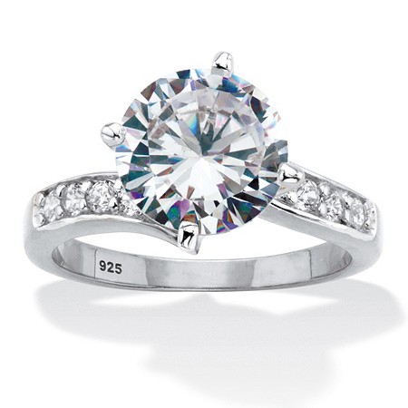 Round Cubic Zirconia Curved Shank Engagement Ring 4.26 TCW Platinum Over Sterling Silver at PalmBeach Jewelry