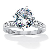 Round Cubic Zirconia Curved Shank Engagement Ring 4.26 TCW Platinum Over Sterling Silver