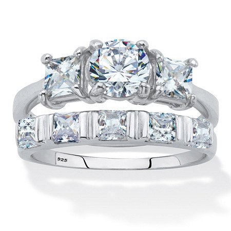 Round and Princess Cut Cubic Zirconia 2 Piece Bridal Ring Set 2.52 TCW Platinum Over Silver at PalmBeach Jewelry