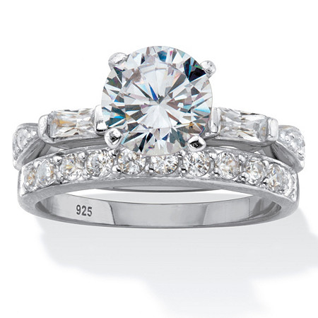 Round and Baguette Cut Cubic Zirconia 2.66 TCW Platinum Over Silver 2 Piece Bridal Ring Set at PalmBeach Jewelry