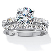 Round and Baguette Cut Cubic Zirconia 2.66 TCW Platinum Over Silver 2 Piece Bridal Ring Set