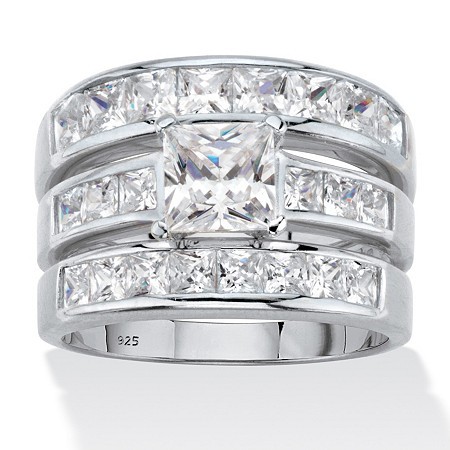 Princess Cut Cubic Zirconia 3 Piece Channel Set Bridal Ring Set 3.74 TCW Platinum Over Sterling Silver at PalmBeach Jewelry