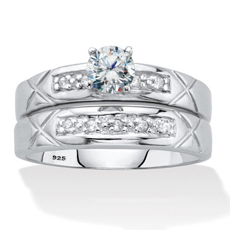 Round Cubic Zirconia 2 Piece Bridal  Ring Set .57 TCW Platinum Over Sterling Silver at PalmBeach Jewelry
