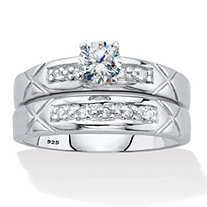 Round Cubic Zirconia 2 Piece Bridal Ring Set .57 TCW Platinum Over Sterling Silver