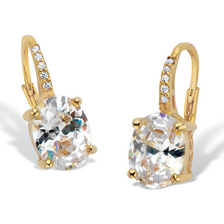Oval Cut Cubic Zirconia Two Tone Drop Earrings 3.77 TCW 18k Gold Over Sterling Silver at PalmBeach Jewelry