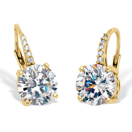 Round Cubic Zirconia Drop Earrings with Round CZ Accents 4.05 TCW Two Tone 18k Gold Over Sterling Silver at PalmBeach Jewelry