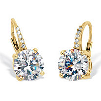 Round Cubic Zirconia Drop Earrings with Round CZ Accents 4.05 TCW Two Tone 18k Gold Over Sterling Silver