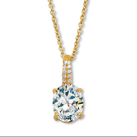 """Oval-Cut CZ with Round CZ Accents Two-Tone Drop Pendant  With 18-20"""" Chain 2.59 TCW Gold-Plated Sterling Silver at PalmBeach Jewelry"""