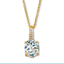 """Oval-Cut CZ with Round CZ Accents Two-Tone Drop Pendant With 18-20"""" Chain 2.59 TCW Gold-Plated Sterling Silver"""