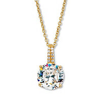"""Round Cut Cubic Zirconia Drop Pendant with CZ Accents Two Tone 4.05 TCW Platinum Over Sterling Silver With 18-20"""" Chain"""