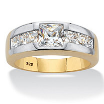 Men's Square-Cut Cubic Zirconia Ring 2.16 TCW,18k Gold over Sterling Silver