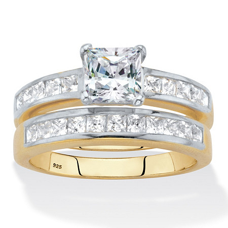 Princess-Cut Cubic Zirconia 2-Piece Bridal Ring Set 2.04 TCW 18k Gold over Sterling Silver at PalmBeach Jewelry