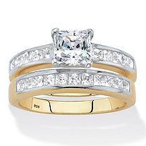 Princess-Cut Cubic Zirconia 2-Piece Bridal Ring Set 2.04 TCW 18k Gold over Sterling Silver