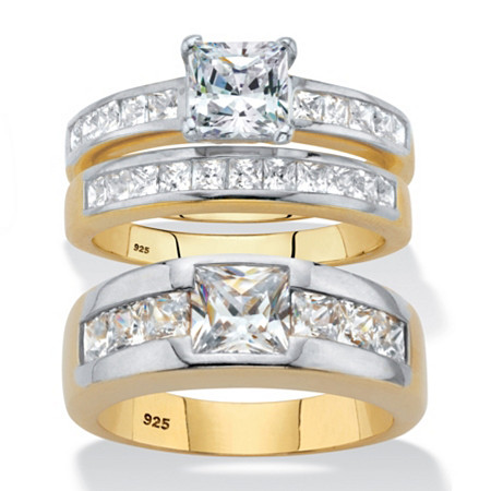 Princess-Cut Cubic Zirconia His and Hers Trio Wedding Ring Set 4.20 TCW 18k Gold over Sterling Silver at PalmBeach Jewelry