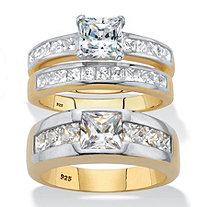 Princess-Cut Cubic Zirconia His and Hers Trio Wedding Ring Set 4.20 TCW 18k Gold over Sterling Silver
