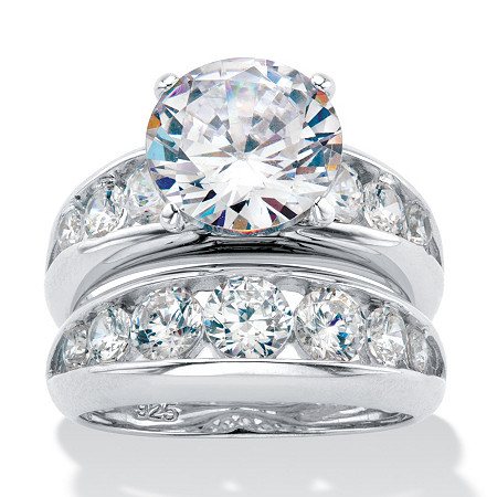 Round Cubic Zirconia 2-Piece Channel-Set Graduated Bridal Ring Set 6.09 TCW in Silvertone at Direct Charge presents PalmBeach