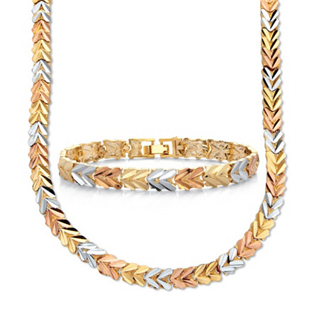 """14k Tri-Tone Gold Plated Foxtail 2 Piece 18"""" Necklace and 7"""" Bracelet Set at Direct Charge presents PalmBeach"""