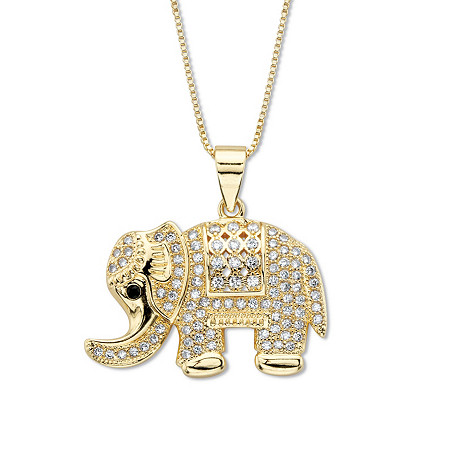 """Round White and Black Crystal """"Good Luck"""" Elephant Pendant  16""""-18"""" Chain Goldtone at PalmBeach Jewelry"""