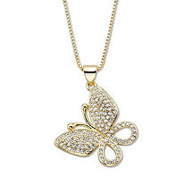 """White Round Crystal Pave Butterfly Pendant Necklace 16""""-18"""" Chain Goldtone"""