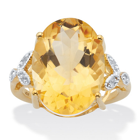 Oval Checkerboard- Cut Citrine and White Topaz Two-Tone Cocktail Ring 10.93 TCW 14k Yellow Gold over Silver at PalmBeach Jewelry