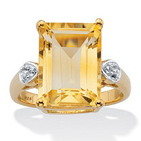 Emerald- Cut Genuine Citrine and White Topaz Two-Tone Cocktail Ring 7.42 TCW 14k Gold over Silver