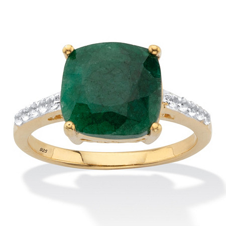 Genuine Cushion-Cut Green Emerald And White Topaz Two-Tone Cocktail Ring 4.60 TCW Gold-Plated Sterling Silver at PalmBeach Jewelry