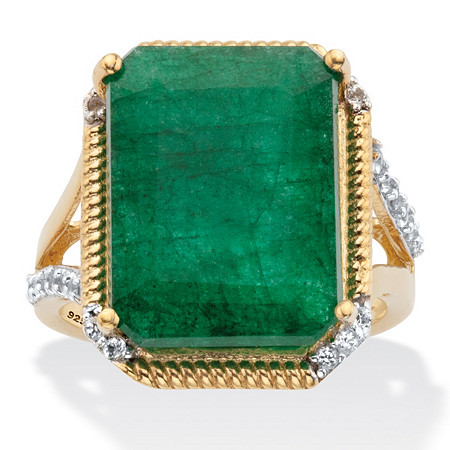 Genuine Green Emerald and White Topaz Split-Shank Two-Tone Cocktail Ring 9.05 TCW Gold-Plated Sterling Silver at PalmBeach Jewelry