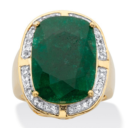 Cushion-Cut Genuine Green Emerald and White Topaz Two-Tone Cocktail Ring 11.24 TCW 14k Gold over Silver at PalmBeach Jewelry